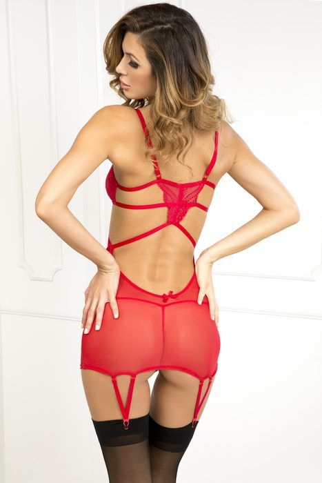 Strappy Seductive Garter Red ML
