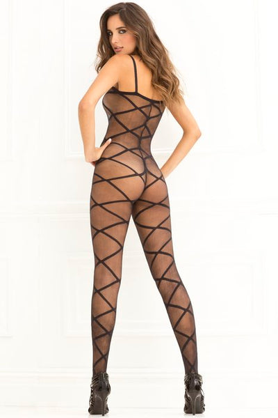 Strapped Up Sheer Bodystocking Black One Size