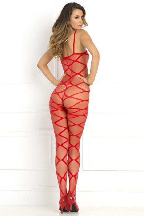 Strapped Up Sheer Bodystocking Red One Size