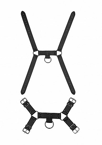 Ouch! Skulls & Bones Male Harness With Spikes Black