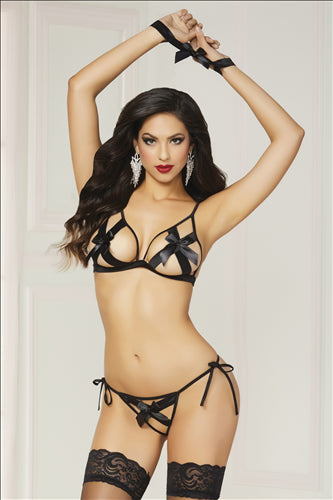 Shiny Stretch Satin Bra Set Black One Size