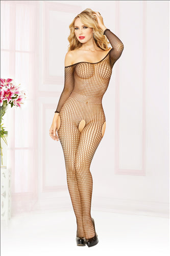 Off The Shoulder Body Stocking One Size Black