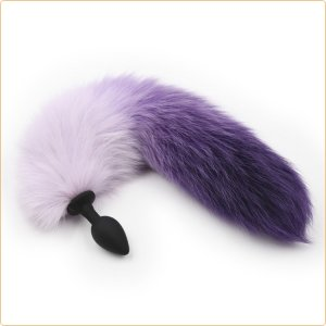 Tailz Silicone Plug Small 2 Tone Faux Fur Fox Purple/ Dusty Violet