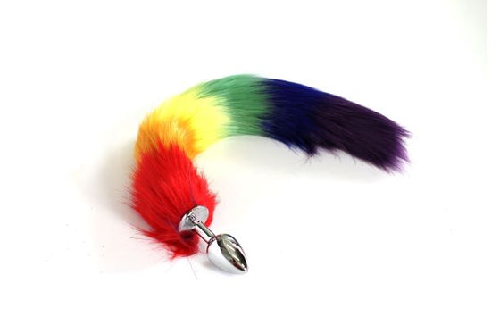 Tailz Metal Plug Small Faux Fur Rainbow