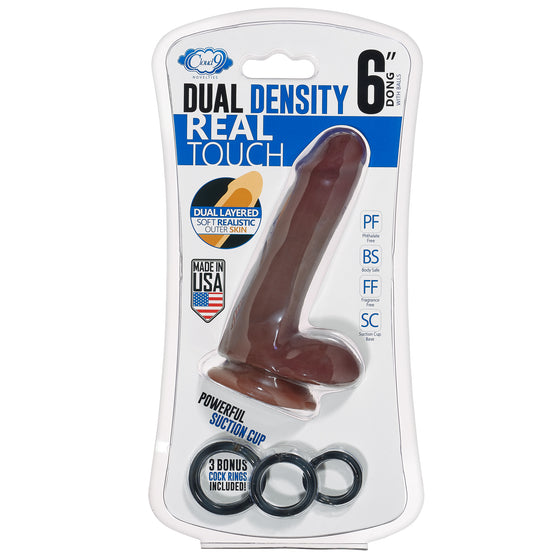 Cloud 9 Dual Density Real Touch 6in With Balls Brown