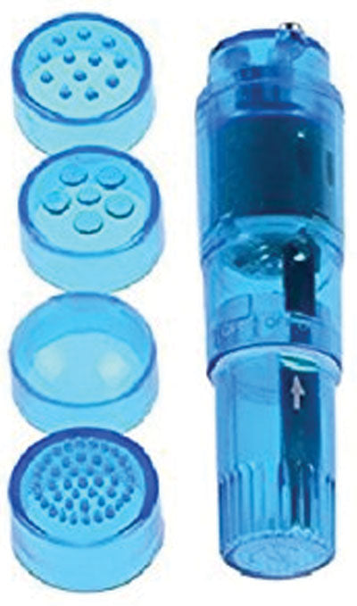 Cloud 9 Novelties Mini Massager Pocket Rocket Blue With 4 Attachments
