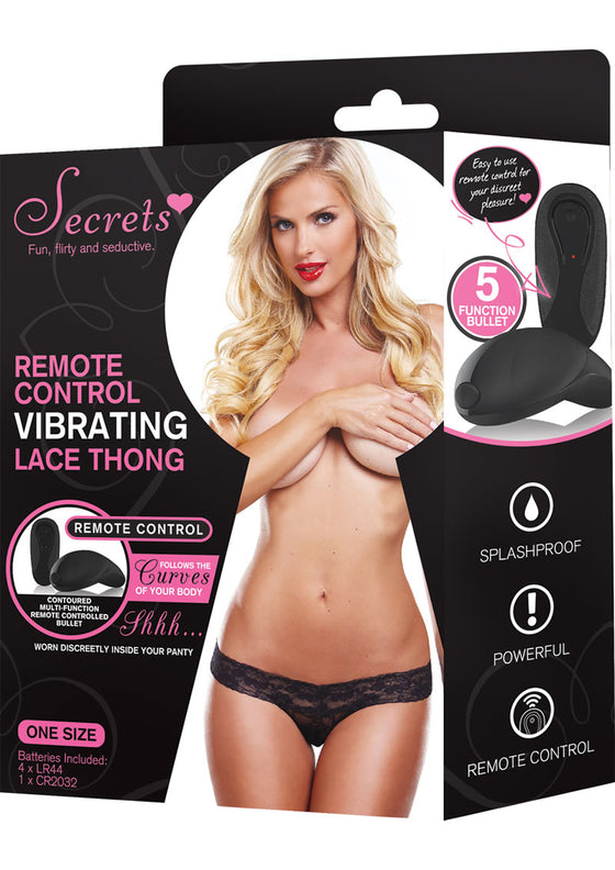 Secrets Lace Thong Vibrating WRemote Black One Size