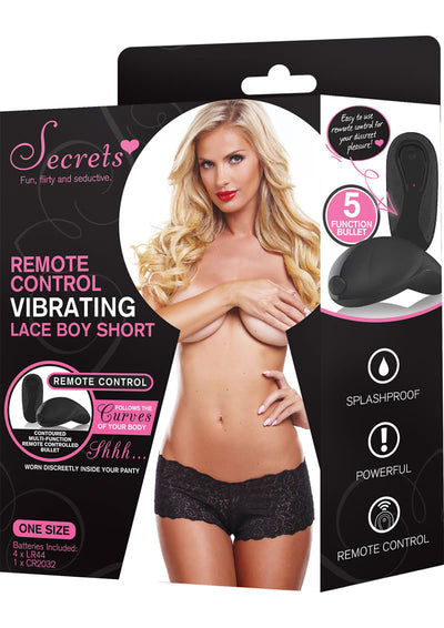 Secrets Boyshorts Vibrating WRemote Black One Size