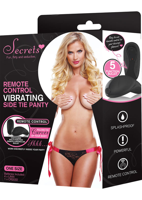 Secrets Panty Side Tie BlkPnk Vibrating WRemote One Size