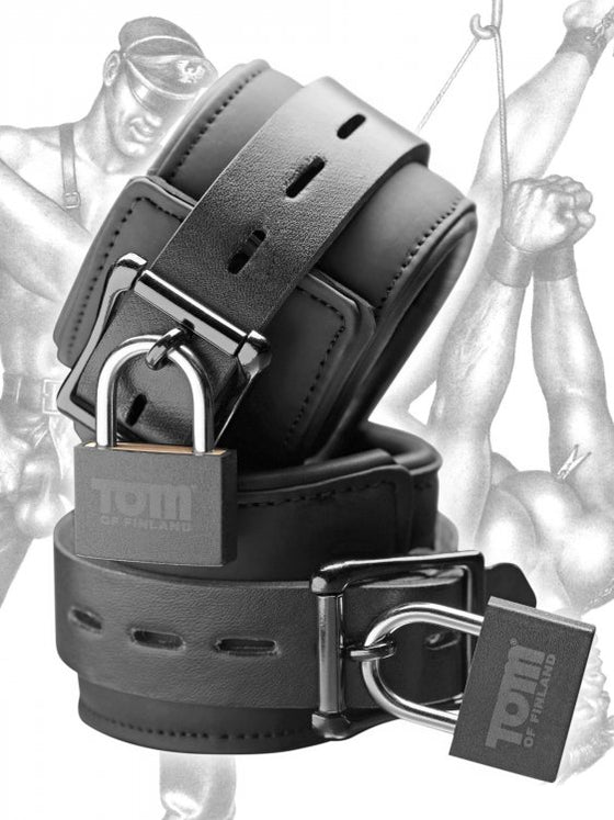 Tom of Finland Neoprene Wrist Cuffs WLocks