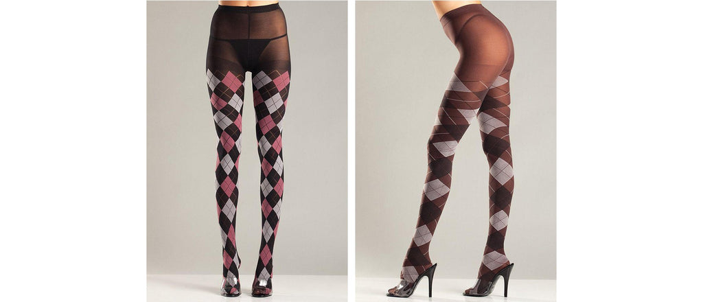 Argyle styled stockings create a unique look