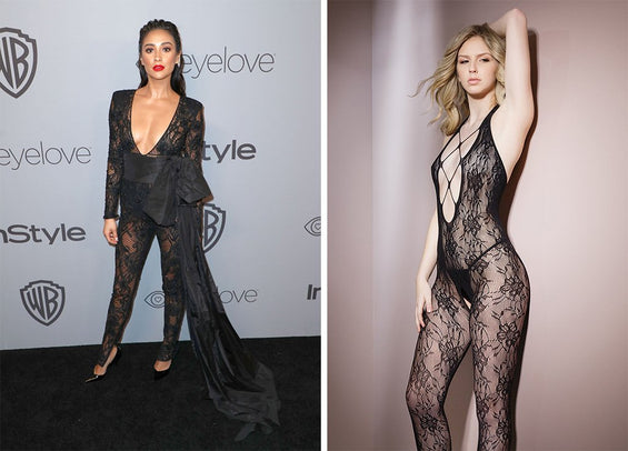 Shay Mitchell walks the carpet in a sexy bodysuit