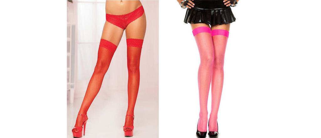 Two examples of thigh high stockings - as lingerie with matching panties, and pink thigh highs with black mini-skirt