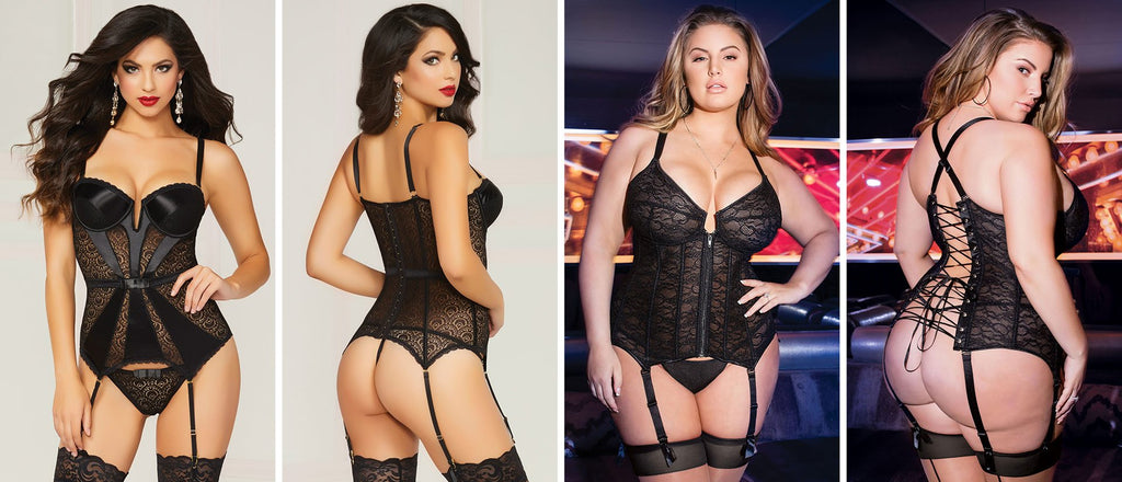 Black bustier lingerie in regular and curvy sizes being modelled by lingerie models