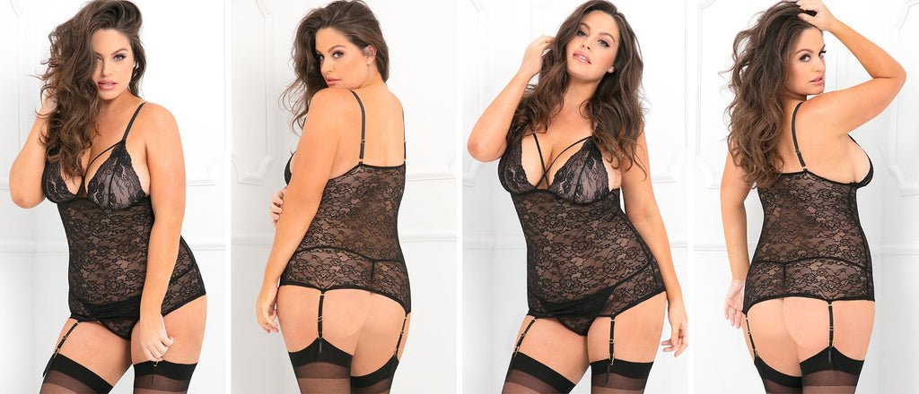 Sexy curvy black lace chemise being modelled lingerie models