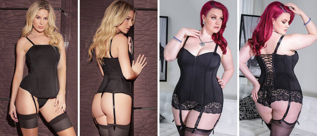 Two popular sexy black corsets and bustier styles