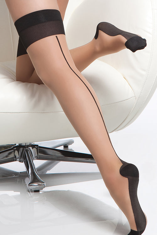 Nude Sheer Cuban Heel Thigh Highs