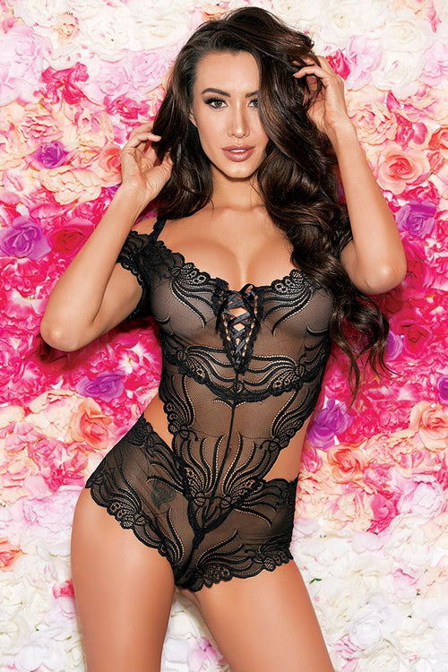 Stretch Black Corset Front Teddy