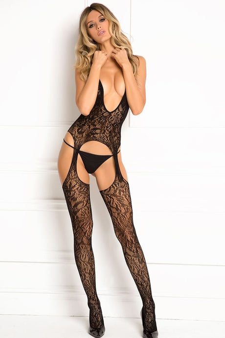 Black Lace Seduction Bodystocking