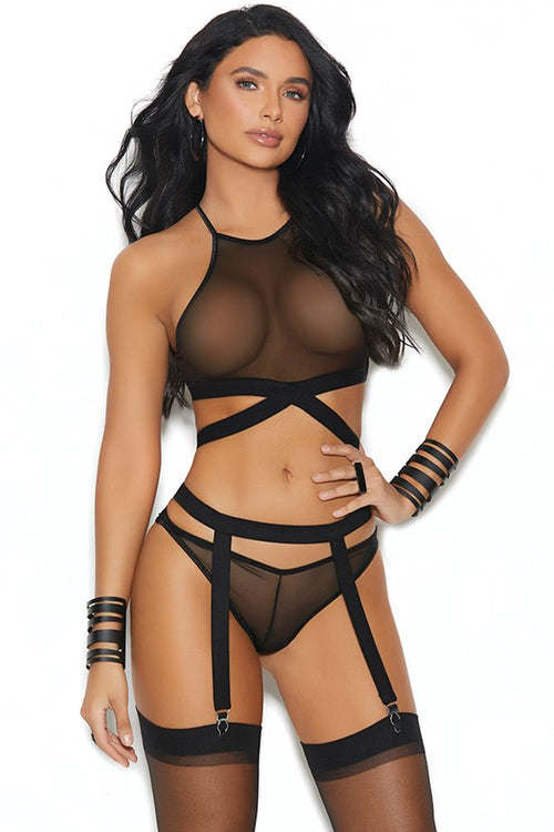 All About You Strappy Bralette, Panty & Garter Belt