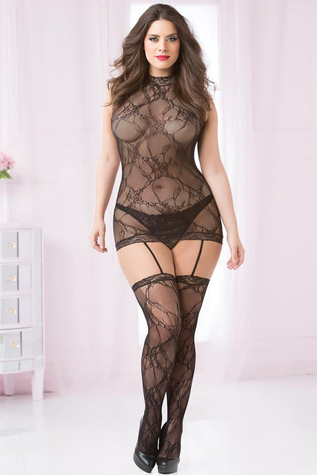 Black Chemise Bodystocking with Garters