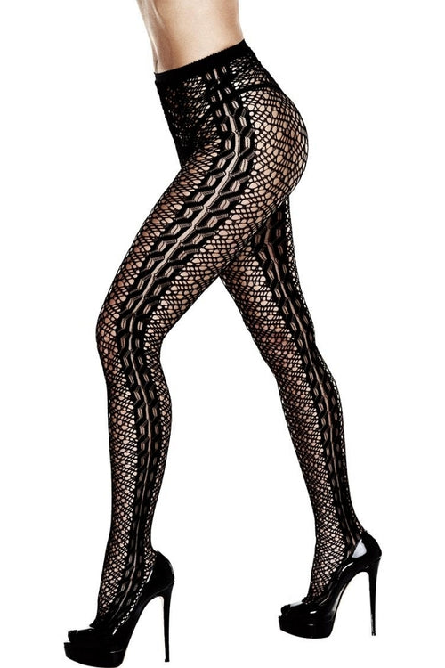 Intricate Knit Black Pantyhose