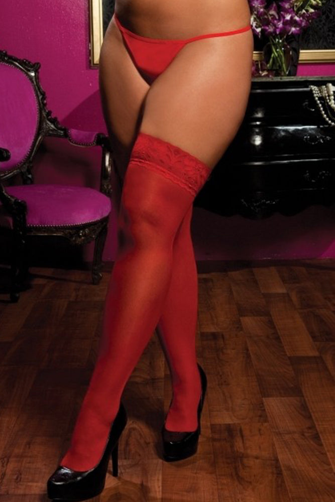Sheer Red Lace Topped Thigh Highs