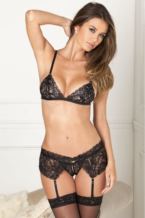 Ornate Lace Bralette, Garter & Thong