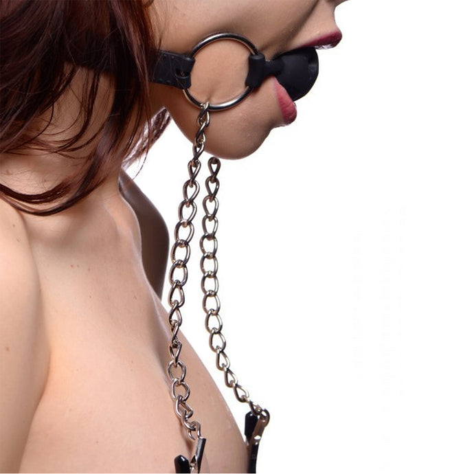 Hinder Breathable Ball Gag & Nipple Clamps