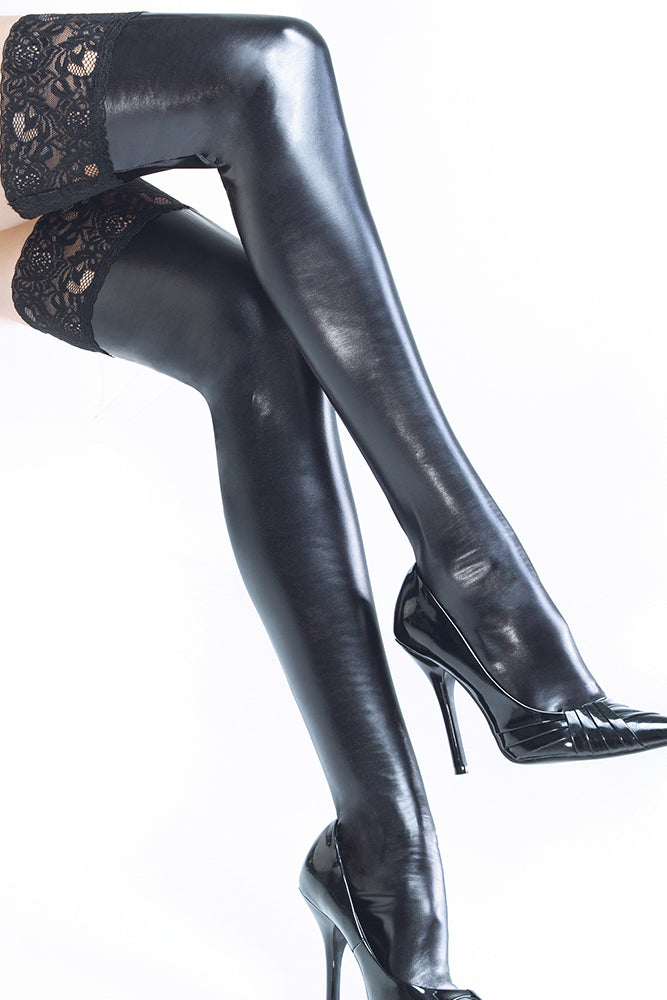 Wet Look Black Thigh Highs with Silicone Grip Tops