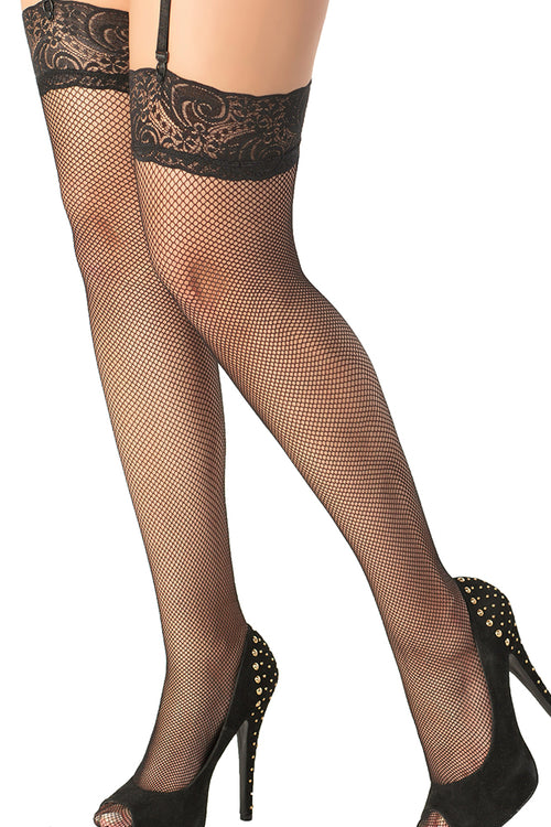 Lace Top Black Fishnet Thigh Highs