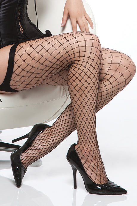 Black Diamond Net Thigh High Stockings