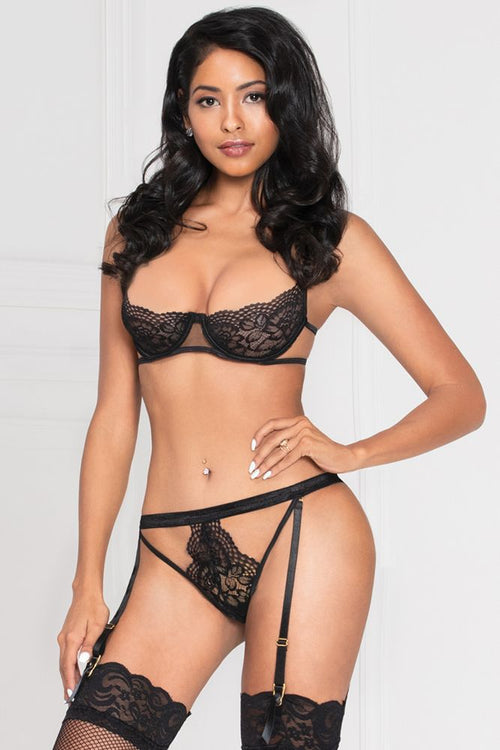 Up All Night 2pc Black Bra Set