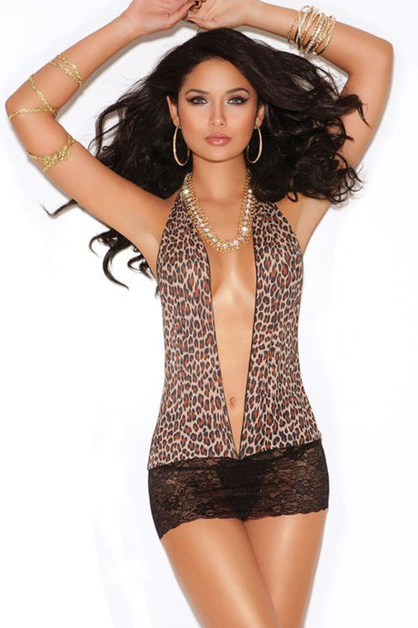 Leopard and Lace Backless Mini Dress