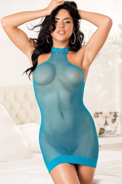 Stretch Fishnet Halter Neck Chemise