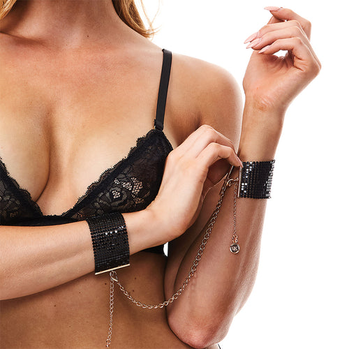 Secret Kisses Metallic Black Mesh Cuffs