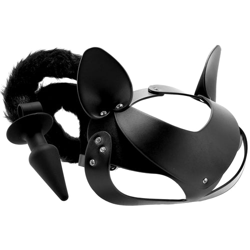 Tailz Black Cat Tail Anal Plug & Mask Set
