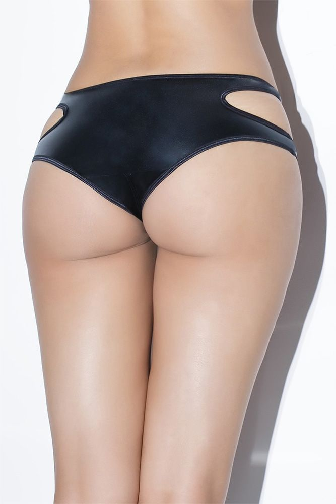 Black Wetlook Crotchless Panty