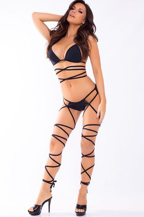Laced Up Lover 2pc Black Bra Set