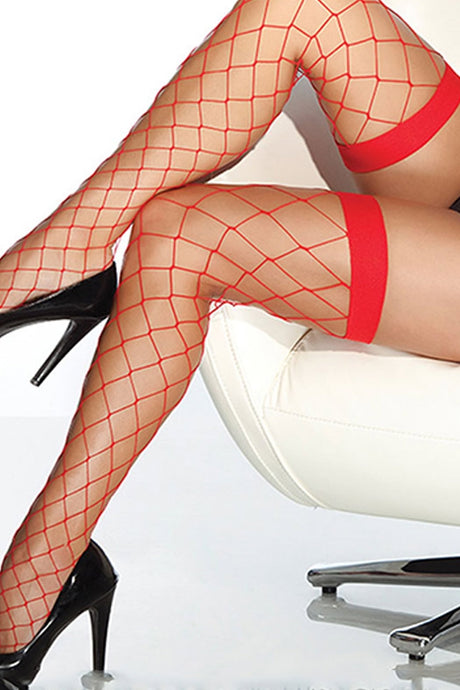 Red Fencenet Thigh High Stockings