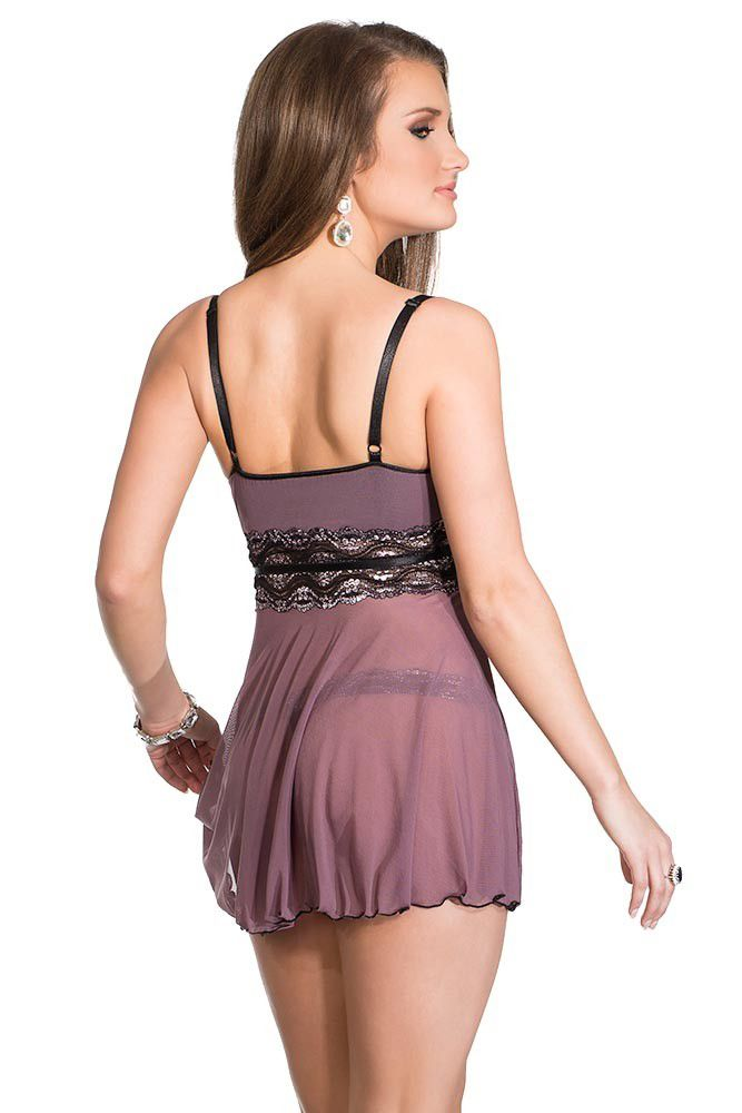 Mesh & Metallic Lace Babydoll and G-String
