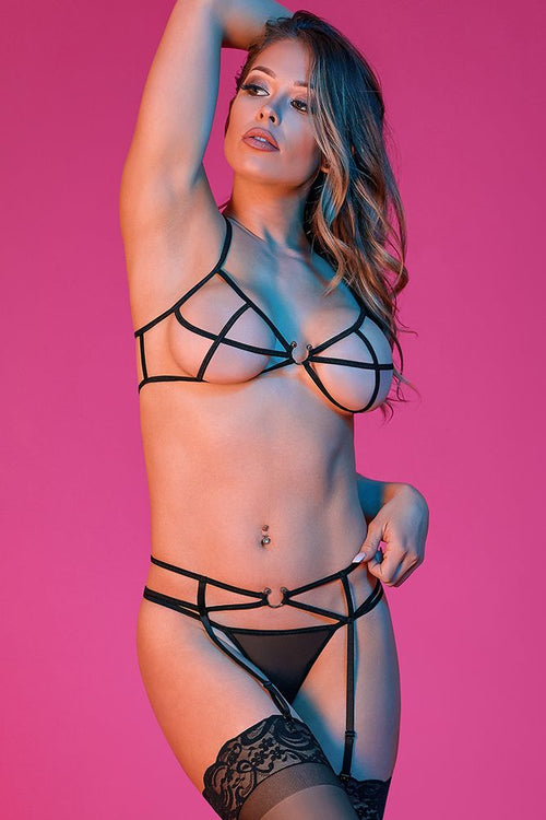 Strappy Bra, Garter & G-Set with Rings