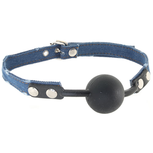 Ouch! Ball Gag with Roughened Denim Straps