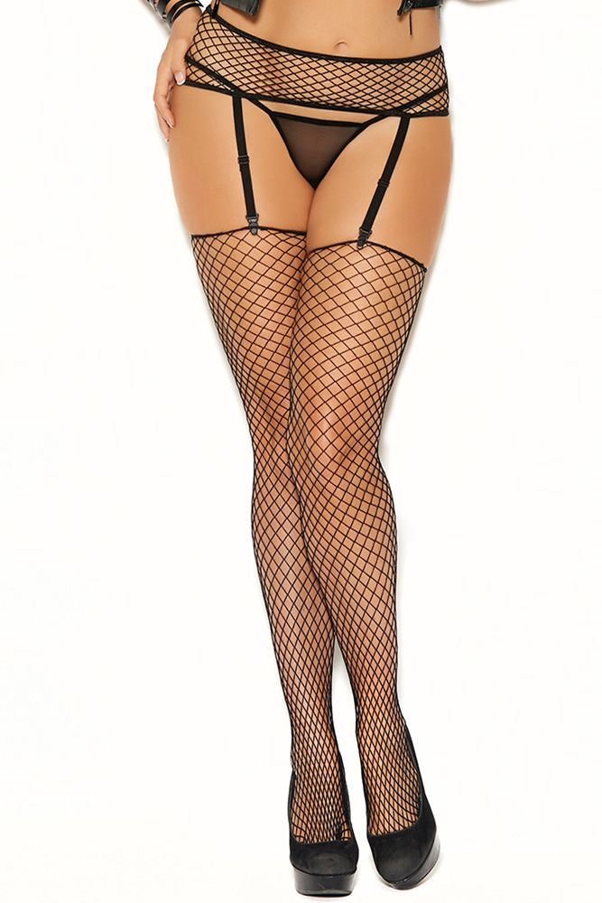 Play With Fire Gartered Fishnet Stockings