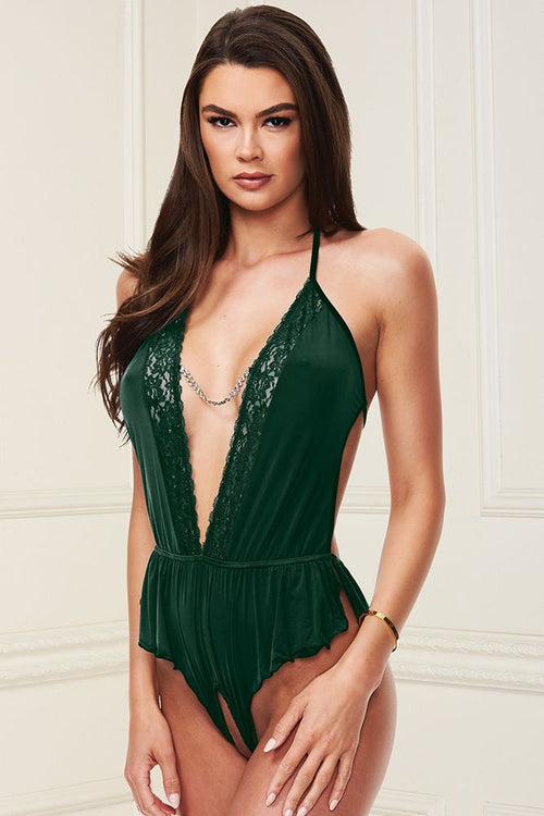 Sexy Forest Green Satin Deep-V Teddy