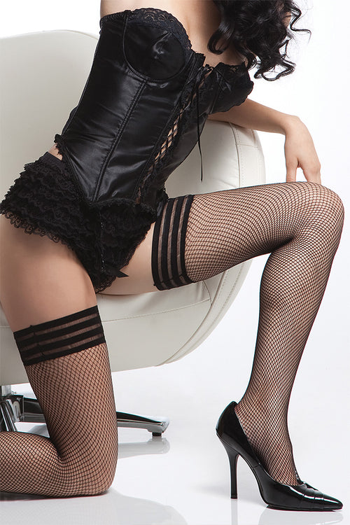 Triple Band Diamond Net Thigh High Stockings Black