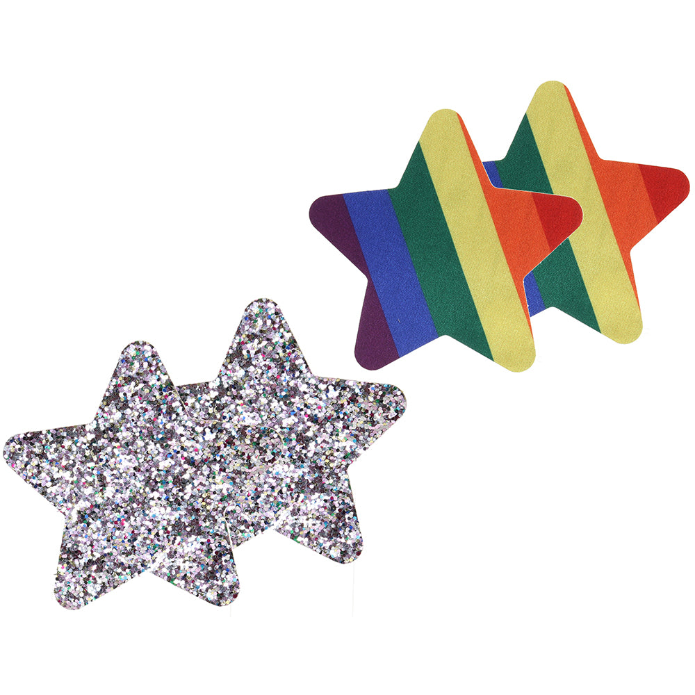 Pride and Rainbow Glitter Stars Nipple Pasties