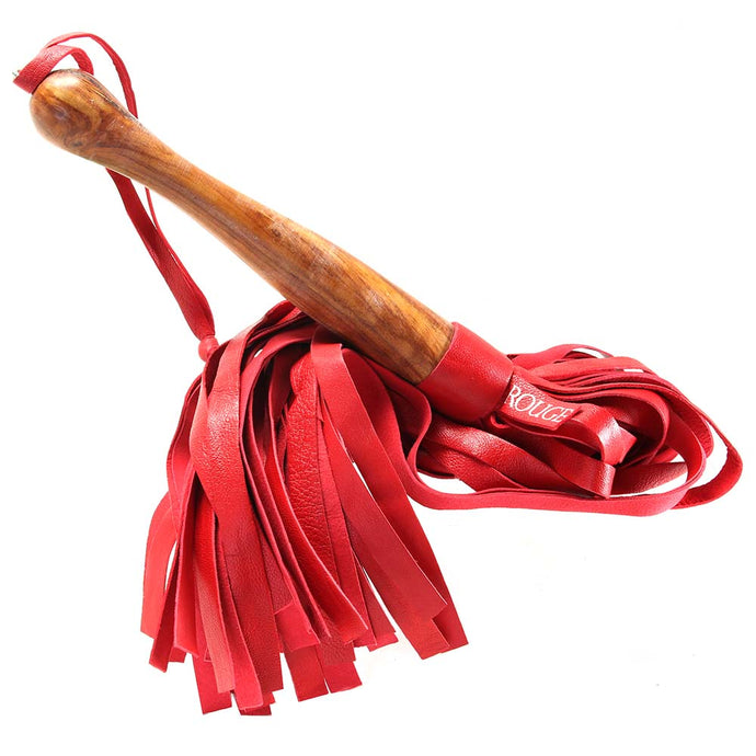 Red Leather Flogger with Wooden Handle