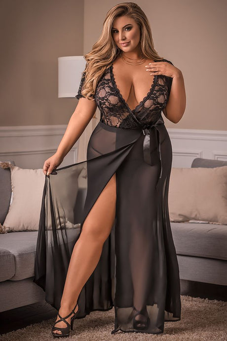 Black Widow Floral Lace Side Cut Robe