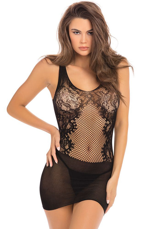 Lace Fantasy Black Mini Dress